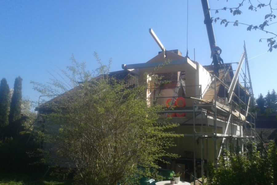 Dachgaube, Baufortschritt